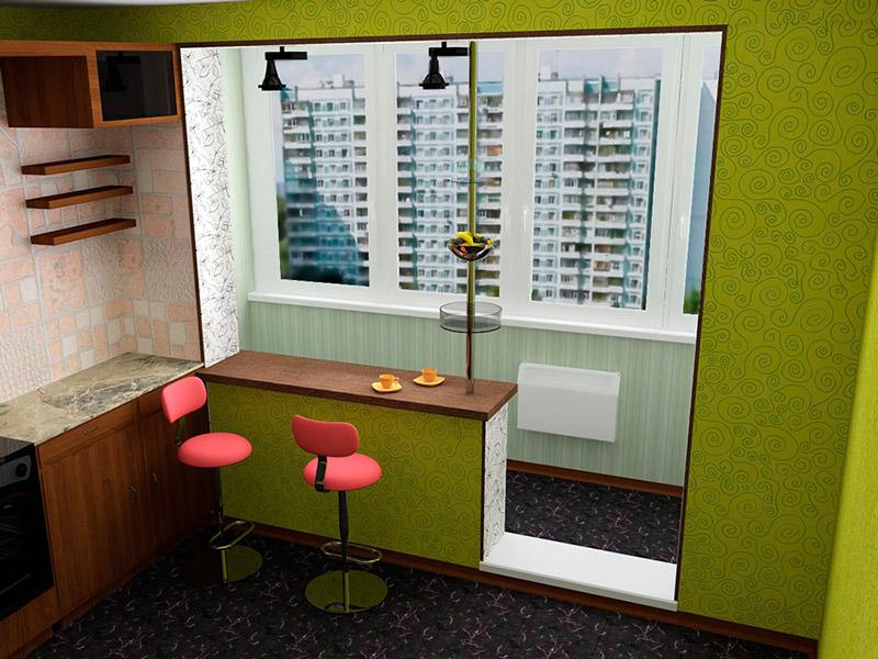 Варианты объединения балкона с квартирой