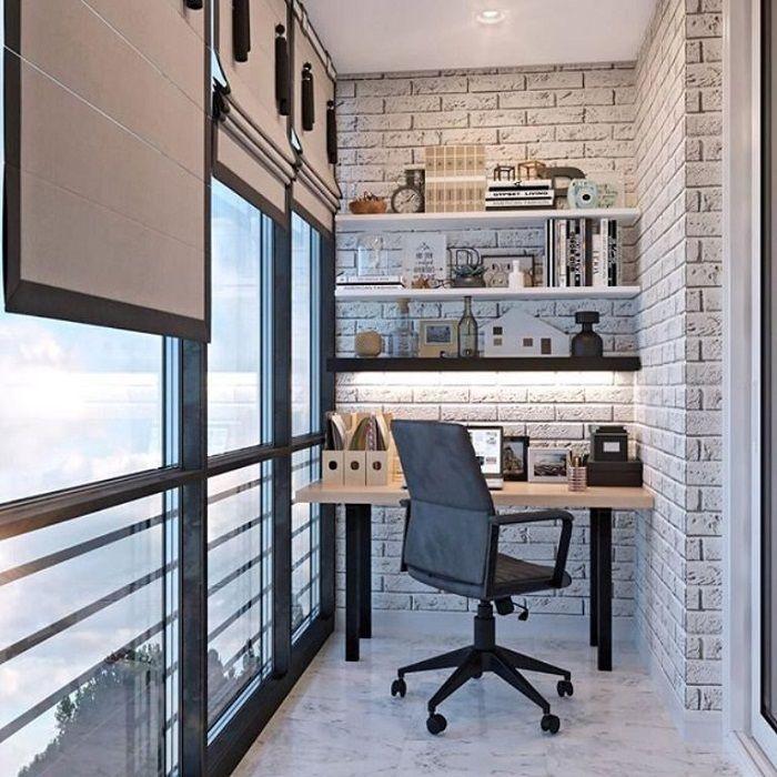 Варианты реализации кабинета на балконе