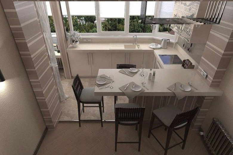 Вынос кухни на балкон