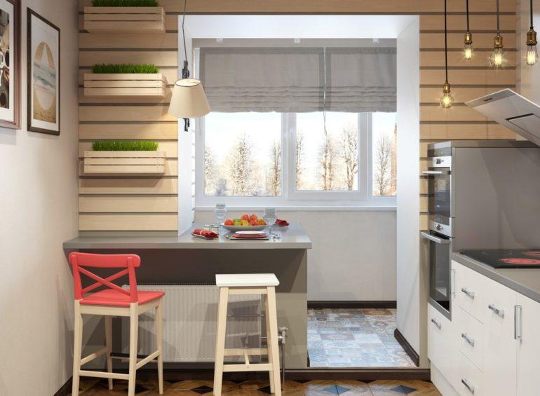 Объединение лоджии шестиметровой кухней